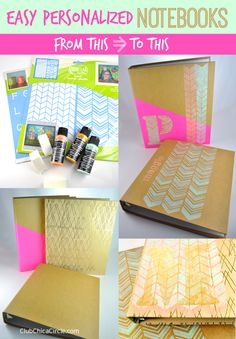 Personalized Notebook DIYs Before and After for School or the Office by Club Chica Circle.