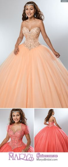 Style 4743: Strapless tulle quinceanera ball gown with sweetheart neck line, bodice embellished with beaded motifs, basque waist line, lace-up back, and sheer bolero. From Mary's Quinceanera Fall 2016 Beloving Collection