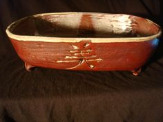 Slab, with engraved Beauty. High Fire, Bonzai Pot. Kristin Stephens