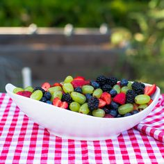 Fruit salad with a honey-lime dressing.