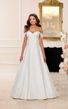 Rustic Wedding Dresses Lace 6718 Simple Satin Wedding Dress by Stella York.Rustic Wedding Dresses Lace 6718 Simple Satin Wedding Dress by Stella York Stella York Wedding Gowns, Stella York Bridal, Affordable Wedding Dresses, Dream Wedding Dresses, Bridal Dresses, Wrap Dresses, Gown Wedding, Lace Wedding, A Line Bridal Gowns