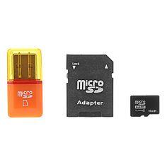 16gb classe 6 microSDHC cartão tf com adaptador SD SDHC e leitor de cartão USB – BRL R$ 23,14