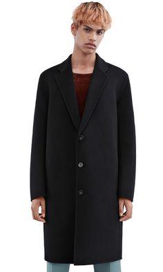 Acne Studios Charles black Double wool cashmere coat