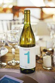 wine bottles as table numbers