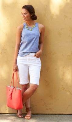 Bermuda shorts are universally flattering & ageless. For that easy-breezy summer vacation vibe, just pair them back to a simple, linen tank or cotton tee. If your bermudas are in a classic color like white, navy or black, add an eye-catching tote in a pop of color.