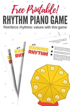 Free, printable piano game for teaching rhythm It's Raining Note Values With This Printable Dice Game For Early Elementary Piano Students Piano Lessons, Music Lessons, Piano Games, Music Games, Music Music, Sheet Music, Learn Piano Beginner, Piano Teaching, Learning Piano