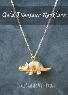 Cute DIY necklace - paint a toy dinosaur gold to hang as a pendant - Tutorial