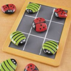 Painted rocks Tic Tac Toe pieces & board :)
