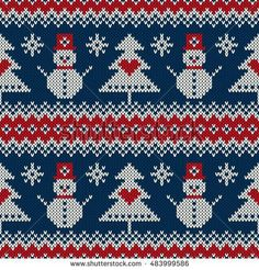 Winter Holiday Knitting Sweater Design with Snowman and Christmas Tree. Seamless Knitted Pattern