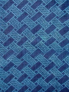 detail of NARUMI KONGATA KATAZOME HAN-JUBAN. FAUX-SHIBORI INDIGO KATAZOME  HAN-JUBAN, CYPRESS FENCE PATTERN  RICE-PASTE RESISTED WITH MULTIPLE STENCILS  VAT-DYED IN BOTANICAL INDIGO  MID/LATE 19C