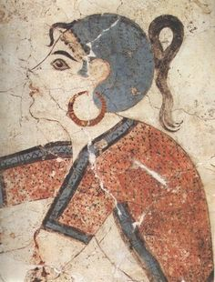 Portrait of a woman from Thera. Detail from the scene of the 'Saffron Gatherers'. Bronze Age, Akrotiri, Thera.