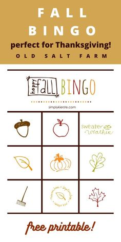 Fall Bingo Free Printable Game! Keep the kids busy with this game while you finish making Thanksgiving dinner! It's also a great game for any fall party with adults, kids, or families. Fun for a class party too. Free printable cards! Free Printable Cards, Free Printables, Thanksgiving Diy, Work Activities, Valentine's Day Diy, Fall Diy, Business For Kids, Bingo, Families