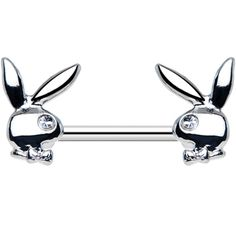 Licensed Clear Gem Gleaming Dual Playboy Bunny Nipple Ring | Body Candy Body Jewelry