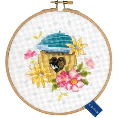 """Bird House On Aida Counted Cross Stitch Kit-5.75"""""""" Round 14 Count"""