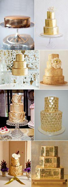 Stunning gold wedding cakes