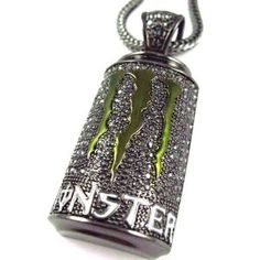 monster energy necklace | Iced Out Monster Energy Bottle Pendant W/Chain Black: Amazon.fr ...