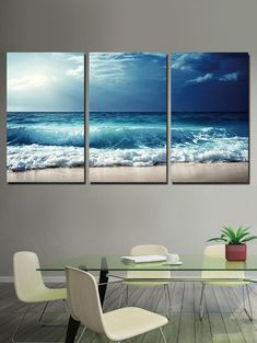 Sea Wave and Beach Printed Unframed Canvas Paintings Three Canvas Painting, Canvas Wall Art, Canvas Paintings, Canvas Prints, Inspire Me Home Decor, Coastal Decor, Coastal Homes, Sitting Room Decor, Room Tapestry