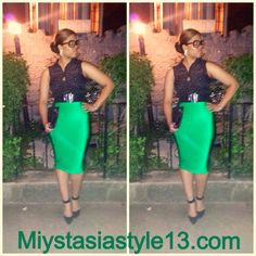 Green Hepburn pencil skirt www.miystasiastyle13.com