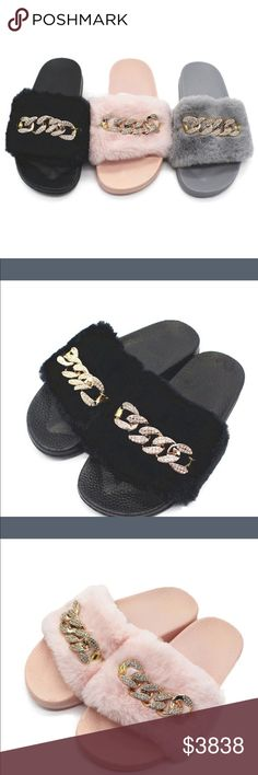 Just in! Great gift ideas!!  Comfy Furry slides w/chain detail in choice of color 36=9 inches 37=9 1/4 38=9 1/2 39=9 3/4 40=10 (inches toe to heal) Shoes Sandals