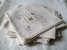 Vintage Napkins, Destash,  Set of Eight, Crafters Bundle.