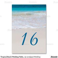 Tropical Beach Wedding Table Number Cards Table Card