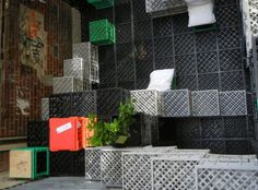 Dubbed PlayMo, the outdoor pavilion was constructed from out-of-use milk crates    Read more: PlayMo: An Urban Playground Constructed of Colorful Crates | Inhabitat - Sustainable Design Innovation, Eco Architecture, Green Building
