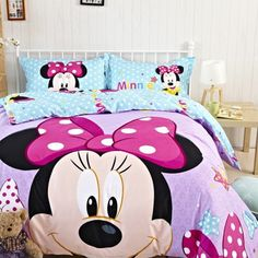 Purple Blue Stars Full and Queen Size Cotton Minnie Mouse Head Bedding