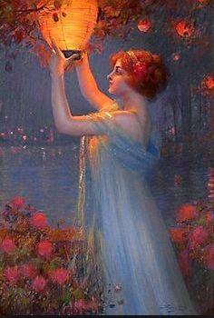 Woman hanging lantern