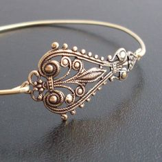 Bangle Bracelet Maylania  Antique Gold by FrostedWillow on Etsy, $9.95