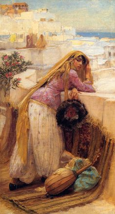 """On the Terrace by Frederick Arthur Bridgman (1847 – 1928) American artist known for his paintings of """"Orientalist"""" subjects."""