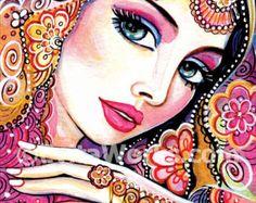 schöne Inderin indische Dekor indische Dekor von EvitaWorks auf Etsy