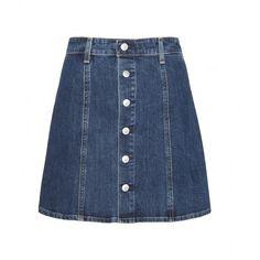 Alexa Chung for AG Kety Denim Skirt ($220) ❤ liked on Polyvore featuring skirts, blue, blue skirt, ag adriano goldschmied, knee length denim skirt, blue denim skirt and denim skirt