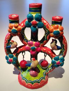 Vintage Mexican Folk Art Hand-Painted Pottery 3-Arm Tree of Life Candle Holder