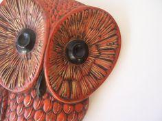 vintage owl wall hanging home decor modern rustic woodland retro owl orange & brown. $28.00, via Etsy.