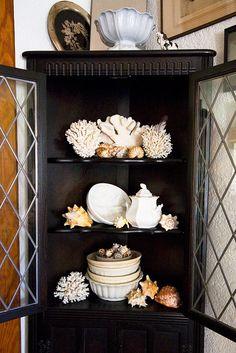 black cabinet displaying coastal elements <3