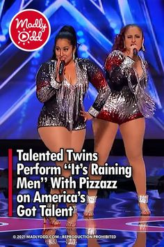 """Going on a television show like America's Got Talent can be a nerve-wracking experience. Twin sisters Irene and Andrea don't let that stop them from dazzling the crowd with their energetic cover of """"It's Raining Men."""" #AmericasGotTalent #SimonCowell #TheWeatherGirls #Sisters"""