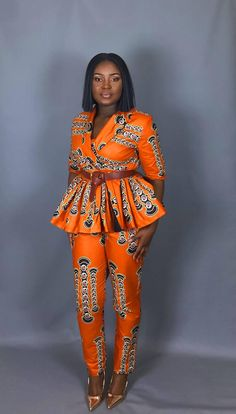 Nothing more professional than confidence,which is why bold prints can really work for you in the office.This is your perfect two piece set which can take you from the office to a night out ,to the church or any occasion. The wrap top features a short sleeve however can be made longer