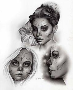 Charles Laveso art Sugar Skull Girl Tattoo, Girl Face Tattoo, Girl Tattoos, Animal Mandala Tattoo, Mandala Tattoo Design, Half Sleeve Tattoos Drawings, Tattoo Sketches, Chicano Tattoos, Chicano Art