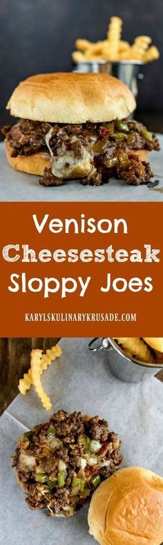 Venison Cheesesteak Sloppy Joes - Karyl's Kulinary Krusade use less salt or cut back on broth next time, just a bit too salty Elk Recipes, Wild Game Recipes, Venison Recipes, Dinner Recipes, Cooking Recipes, Healthy Recipes, Deer Burger Recipes, Venison Meals, Sausage Recipes