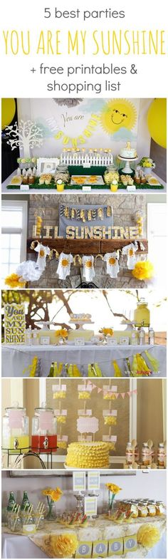 Pin to remember this is the best baby shower, baby sprinkle OR birthday party theme // Best You Are My Sunshine Parties Free Printables and Shopping List