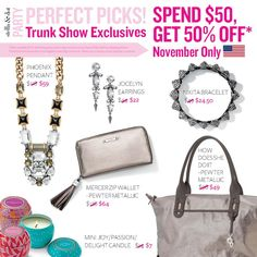 Host or attend a trunk show in November to take advantage of these exclusive offers! (Our candles smell amazing!!) #stelladot #tseo #november