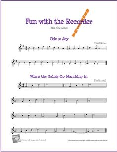 Ode to Joy and When the Saints Go Marching In | Free Sheet Music for Recorder - http://www.makingmusicfun.net/htm/f_printit_free_printable_sheet_music/five-note-recorder-sheet-music.htm