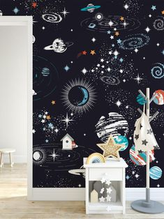 Galaxy Wallpaper for Bedroom Black Outerspace Kids Bedroom Wallpaper Starry Galaxy Wall Decor Removable Fabric Planet Nursery Decor Wall Paper Playroom Wall Art Mural Nursery Wall Murals, Mural Wall Art, Nursery Decor, Boy Decor, Bedroom Decor, Kids Bedroom Wallpaper, Wallpaper Wall, Galaxy Wallpaper, Wallpaper Ideas