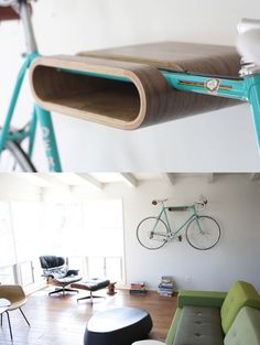 Bike Rack Wall Mount: Excellent idea for wall-mounting a bike in an apartment. By Daniel Ballou, industrial designer in California. Bike Hanger, Bike Rack, Bike Wall Mount, Bike Shelf, Bicycle Storage, Cool Inventions, Recycled Furniture, Industrial Design, Creative Design