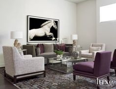 Neutral Modern Living Room with Purple Accents