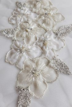 Hand-made motif with applique silk organza flowers #couture #beaded #handembroidery#wedding#sposa#novias#mariage#bridal#accessories#highfashion#atelier