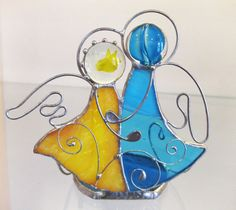 Stained glass Angels. Candle holder. Unique gift. by solandmary
