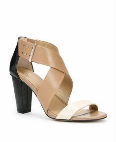 my ideal shoe. neutral color sandal heel. white tan black. two tone. three tone. mid heel.