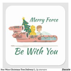Star Wars Christmas Tree Delivery In Landspeeder Square Sticker Star Wars Christmas Tree, Christmas Holidays, Christmas Tree Delivery, Holiday Lights, Free Paper, Custom Stickers, Party Hats, Merry, Stars