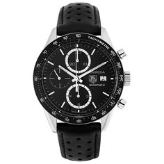 Tag Heuer Men's CV2010.FC6233 Carrera Chronograph Automatic Black Leather Watch